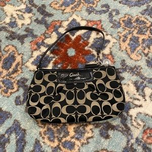 Zipped Coach Signature Print Wallet